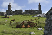 Abandoned and ruined stone building, Scotland Mark Hicken/ Scottish Viewpoint uk,u.k,Great Britain,GB,G.B,Scotland,Scottish,nobody,daytime,outdoors,old bothy,abandoned farm machinery,agricultural,chimney pots,plough,rust,rusty,stone,south uist,western isles,outer hebrides,croft