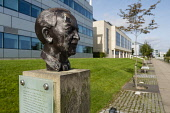 Bust of Scottish Poet Sorley MacLean  at Edinburgh Park a modern business park at South Gyle in Edinburgh, Scotland, United Kingdom. Iain Masterton/ Scottish Viewpoint Edinburgh Park,business park,Scotland,Scottish,offices,office development,South Gyle Edinburgh,Edinburgh South Gyle,United Kingdom,Britain,British,UK,exterior,daytime,property development,architecture