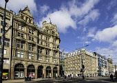 View of famous Jenners Department store on Princes Street in Edinburgh, Scotland, United Kingdom. Iain Masterton/ Scottish Viewpoint Jenners,Jenners Edinburgh,department Store,Edinburgh Jenners,shop,shops,shopping,retail,Scotland,Scottish,landmark,Princes Street,building exterior,daytime,travel,tourism,heritage,historic,facade,Unit