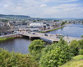 Inverness from castle, River Ness, Highlands of Scotland, UK Dennis Barnes/ Scottish Viewpoint uk,u.k,Great Britain,GB,G.B,Scotland,Scottish,group,daytime,outdoors,Inverness,River,Ness,bridge,Highland,cityscape,highlands,city