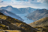Looking west down Loch Hourn to Ladhar Bheinn and the Knoydart hills from Am Bathaich,Scotland Alan Gordon/ Scottish Viewpoint Corbetts,Highlands,Knoydart,Ladhar Bheinn,Loch Hourn,Lochaber,Munro,National Scenic Area,atmospheric,autumn,boulders,dramatic,fjord,hills,landscape,loch,mountains,nobody,peaks,remote,rocks,sea,sea loc