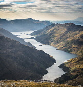 Looking west down Loch Hourn from Sgurr a'Mhaoraich Beag,Scotland Alan Gordon/ Scottish Viewpoint Highlands,Knoydart,Loch Hourn,Lochaber,Munro,National Scenic Area,Scotland,atmospheric,autumn,colour,dramatic,fjord,hills,landscape,loch,mountains,nobody,remote,sea,sea loch,sunlight,sunny,wild,wilder