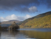 Crannog in Autumn at Loch Tay, Perthshire, Scotland Ian Macrae Young/ Scottish Viewpoint uk,u.k,Great Britain,GB,G.B,Scotland,Scottish,nobody,daytime,outdoors,Crannog,Loch Tay,Kenmore,Autumn colours,Perthshire,Tayside,history
