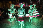 Edinburgh, Scotland, United Kingdom. 31 December 2017. Spark! LED Drummers perform on Princes Street during Drum Off with all female drumming group during annual New Year of Hogmanay celebrations in t... Iain Masterton/Scottish Viewpoint Hogmanay,Edinburgh,New Year,street performers,street performance,Scotland,Scottish,night,2017,celebrations