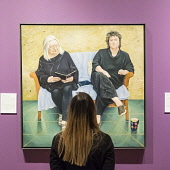 Edinburgh, Scotland, United Kingdom. 14 December, 2017.  Jill Brown, Press and Marketing Officer at National Galleries Scotland, looks at painting The Poets by Claire Eastgate at the exhibition of BP... Iain Masterton/Scottish Viewpoint BP Portrait Awart,2017,Scottish National Portrait Gallery,Edinburgh,competition,Scotland,Scottish,exhibition,opening,UK,Britain,British