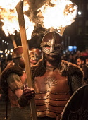 Edinburgh, Scotland,United Kingdom. 30 December, 2017. Members of legendary Up Helly Aa Vikings from Shetland, in full costume and with flaming torches before Torchlight Procession which forms one par... Iain Masterton/Scottish Viewpoint Edinburgh,Scotland,Scottish,Torchlight procession,new Yesr,Night,UK,celebrations parade,traditional,winter,Hogmanay,Edinburgh Hogmanay,2017