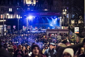 View of Waverley Stage during concert as part of Edinburgh hogmanay street party in the city on New Year's Eve. Scotland, United Kingdom. Iain Masterton/Scottish Viewpoint Edinburgh,Hogmanay,Edinburgh New Year,New Year Edinburgh,Hogmanay Edinburgh,Waverley stage,concert,bisy,people,crowd,audience,street party,celebration,night,Scotland,Scottish,travel,tourism,United Kin