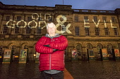 Edinburgh, Scotland, United Kingdom. 2 January , 2017. Bestselling Author Val MacDermid launches the Message from the Skies in Edinburgh. The project features projections onto many of the cityÕs land... Iain Masterton/Scottish Viewpoint Val Mcdermid,Message from the Skies,Edinburgh,Scotland,Scottish,author,Hogmanay,outdoor,city,writer,culture,installation,art,event,UK,united Kingdom,2017