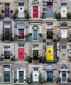 Collage of many houses with front doors decorated at Christmas in the New Town of Edinburgh , Scotland, United Kingdom Iain Masterton/Scottish Viewpoint Christmas decoations,Edinburgh New Town,2017,front door wreath,house decoration,scotish culture,property,decorated,doors,entrance,detail,doorway,doorways,many,collage,montage,grid,views,properties,hou