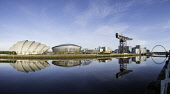 View of SEC Armadillo and SSE Hydro beside River Clyde on blue sky winter day, Scotland, United Kingdom Iain Masterton/Scottish Viewpoint Glasgow,River Clyde,riverside,Scotland,Scottish,city,cities,view,daytime,blue sky,reflection,reflections,urban,regeneration,gentrification,redeveloped,modern architecture,development,property developm