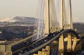 View of new Queensferry Crossing bridge spanning the River Forth at South Queensferry, Scotland, United Kingdom. Iain Masterton/Scottish Viewpoint Queensferry Crossing,Queensferry Crossing Bridge,winter,view,bridges,Scotland,highway,traffic,motorway bridge,road,roads,M90,Scottish,South Queensferry,River Forth,major,investment,cable-stayed bridge