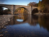 Potarch Bridge over the River Dee which is famous for salmon fishing, near Kincardine OÕNeil, west of Aberdeen, Scotland Allan Coutts/Scottish Viewpoint u.k,Great Britain,GB,G.B,Scotland,Scottish,nobody,daytime,outdoors,aberdeenshire,banks,brown,bridge,blue,clear,dee,deeside,river