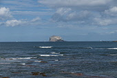 Sea at North Berwick east Lothian looking towards the Bass Rock Scotland D.G.Farquhar/Scottish Viewpoint uk,u.k,Great Britain,GB,G.B,Scotland,Scottish,nobody,daytime,outdoors,Bass Rock,Bay,East Lothian,North Berwick,Waves,rock,sea,coast,coastal,coastline,water,summer
