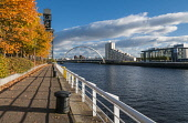 Autumn colours on the Clyde Walkway beside the River Clyde Glasgow with Glasgow Arc Bridge Scotland D.G.Farquhar/Scottish Viewpoint uk,u.k,Great Britain,GB,G.B,Scotland,Scottish,nobody,daytime,outdoors,Apartments,Autumn,Autumn colours,Bridge,Britain,City of Glasgow,Clyde walkway,Crane,Fall Colors,Finniestone Crane,Glasgow,River Cl