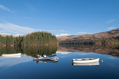 Loch Katrine Scotland D.G.Farquhar/Scottish Viewpoint uk,u.k,Great Britain,GB,G.B,Scotland,Scottish,nobody,daytime,outdoors,Autumn,Autumn colours,Autumnal,Boats,Fall Colors,Loch Katrine,Loch Lomond and the TRossachs National Park,National Park,Reflection