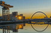 Sunrise on the River Clyde Glasgow Scotland with the Finnieston Crane and Glasgow Arc (Squinty Bridge) D.G.Farquhar/Scottish Viewpoint uk,u.k,Great Britain,GB,G.B,Scotland,Scottish,nobody,daytime,outdoors,City of Glasgow,Glasgow,river clyde,arc,bridge,sunrise
