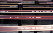 Detail of queue  separation barriers at ticket office in Edinburgh Castle, Scotland, United Kingdom. Crowding has become a problem at this very popular tourist attraction. Iain Masterton/Scottish Viewpoint Edinburgh Castle,queue,barrier,ticket office,travel,tourism,detail,barriers,nobody,daytime,tourist attraction,welcome,separation,lines,line