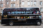 The Ghost Bus Tours double decker bus on the Royal Mile in Edinburgh, Scotland, United Kingdom Iain Masterton/Scottish Viewpoint Ghost Bus Tours,tourism edinburgh,edinburgh,Edinburgh tourism,bus tours,Old Town Edinburgh,tourist bus tour,tourist bus tours,Scotland,Scottish,UK,United Kingdom,travel,Britain,british,outdoor,heritag