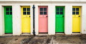 Row of colourful changing rooms at harbour at North Berwick, East Lothian, Scotland, United Kingdom Iain Masterton/Scottish Viewpoint North Berwick,harbour,Scotland,Scottish,doors,row,colous,coloured,changing room doors,outdoor,UK