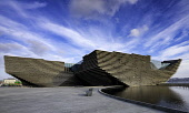 View of newly completed V&A Museum of Design in Dundee, Tayside, Scotland. Iain Masterton/Scottish Viewpoint V&A Museum of Design Dundee,Dundee V&A Museum of Design,Dundee,V and A Museum,Scotland,Scottish,V&A Museum Dundee,museums,building exterior,Kengo Kuma & Associates,architecture,modern Architecture,tra