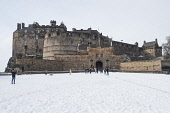 Exterior view of Edinburgh Castle from Esplanade after heavy snow causing castle to close to the public, Scotland, United Kingdom Iain Masterton/Scottish Viewpoint Edinburgh Castle,snow,esplanade,travel,tourism,Scotland,Scottish,Scotland castle,castle,landmark,ancient monument,historic,castles,winter,cold weather,wintry,daytime,scottish heritage,tourist attracti