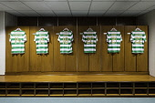 Football strips hanging inside home dressing room at Celtic Park home of Celtic Football Club in Parkhead , Glasgow, Scotland, United Kingdom Iain Masterton/Scottish Viewpoint Celtic,Celtic football club,Celtic Park,Parkhead,dressing room,home dressing room,football strips,interior,celtic Glasgow,Glasgow,Scotland,United Kingdom,Scottish football club,Glasgow Celtic,Celtic f