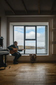 Pete Fletcher, Black Bay Studios, Island of Great Bernera, Outer HebridesPicture Credit Paul McGinley/HIE 2017,black,bay,studios,music,studio,guitar,play,playing
