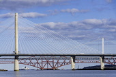 Daytime view of the three major bridges crossing the Firth of Forth at South Queensferry; Queensferry Crossing, North Road Bridge and the Forth Bridge ( rail) , Scotland, United Kingdom. Iain Masterton /Scottish Viewpoint Forth bridges,Scotland,Scottish,Firth of Forth,Queensferry Crossing,Forth Road Bridge,Forth Bridge,daytime,transport,transportation,infrastructure,crossings,engineering,built structure,major,investmen