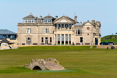 Exterior view of the club house of The Royal and Ancient Golf Club (R&A) and famous old Swilken Bridge over Swilken Burn on 18th Hole atOld Course in St Andrews, Fife, Scotland, UK. Iain Masterton /Scottish Viewpoint The Royal and Ancient Golf Club,R&A St Andrews,St Andrews Swilken Bridge,Swilken Burn,club house,Old Course Swilken Bridge,Old COurse Swilken Burn,clubhouse,St Andrews,St Andrews Scotland,St Andrews G