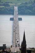 View of the Tay Road Bridge crossing the ~River Tay in Dundee, Scotland, UK Iain Masterton /Scottish Viewpoint Tay Road Bridge,River tay,Dundee,transport,transportation,bridges,highway bridge,Scotland,Scottish,UK,United Kingdom,Dundee Scotland