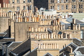 View of chimney pots on rooftops of the New Town in Edinburgh, Scotland, United Kingdom, UK Iain Masterton /Scottish Viewpoint Edinburgh,Edinburgh New Town,New town Edinburgh,rooftops,view over rooftops,view over roofs,Georgian,houses,housing,residential,district,travel,tourism,UNESCO world heritage,historic,homes,looking dow