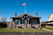 View of Clubhouse of Carnoustie Ladies Golf Club in Carnoustie , Angus, Scotland, UK Iain Masterton /Scottish Viewpoint Carnoustie,carnoustie LAdies Golf Club,scotland,Scottish,clubhouse,building exterior,UK,Amgus,United Kingdom,golf clubs,Scottish goldf club,historic,nobody