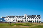 View of Carnoustie Golf Course Hotel behind 18th Green  at Carnoustie Golf Links in Carnoustie, Angus, Scotland, UK. Carnoustie is venue for the 147th Open Championship in 2018. Stand around green und... Iain Masterton /Scottish Viewpoint Carnoustie,Carnoustie Golf Links,Carnoustie Golf Course,Carnoustie Golf Hotel,Carnoustie Golf course hotel,spa,hotels,travel,tourism,building exterior,luxury,Angus,Scotland,Scottish,UK,united Kingdom,