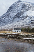Glencoe, cottage, snow,  bothy, Lagangarbh. Lochaber, Highland region, Scotland UK Dennis Barnes /Scottish Viewpoint uk,u.k,Great Britain,GB,G.B,Scotland,Scottish,nobody,daytime,outdoors,Glencoe,cottage,bothy,snow,last,light,evening,Lagangarbh,buachaille,etive,river,climbing,hiking,Highlands,hills,wild,countryside,M