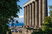 The National Monument on  Calton Hill, Edinburgh on a summers day, Scotland Jason Baxter /Scottish Viewpoint uk,u.k,Great Britain,GB,G.B,Scotland,Scottish,group,daytime,outdoors,capital,city,edinburgh,hill,hillside,seat,summer,sunlight,sunny,monument,national,tourist,tourists