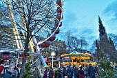 Edinburgh Christmas lights and festivities, Princes Street Gardens, Scotland, UK. Dennis Barnes /Scottish Viewpoint uk,u.k,Great Britain,GB,G.B,Scotland,Scottish,people,daytime,outdoors,xmas,Edinburgh,Christmas,lights,market,festivities,Princes,Street,Gardens