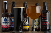 A selection of beer in bottles and a glass of beerPicture Credit John Paul/HIE 2018,food,stock,beer,drink,glass,glasses,bottle,bottles