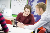 An Lochran and Inverness Campus stock photography, July 2016Picture Credit Tim Winterburn / HIE Highlands,Islands,Enterprise,HIE,An Lochran,Inverness,Campus,2016,office,offices,2 people,tablet