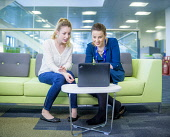 An Lochran and Inverness Campus stock photography, July 2016Picture Credit Tim Winterburn / HIE Highlands,Islands,Enterprise,HIE,An Lochran,Inverness,Campus,2016,office,offices,2 people,laptop
