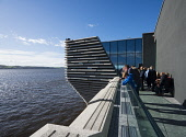 Outdoor viewing platform overlooking River Tay at new V&A Museum on first weekend after opening in Dundee , Scotland, UK. Iain Masterton /Scottish Viewpoint V&A Dundee,V and A Dundee,Scottish musum,architecture,Dundee V&A museum,V&A Museum Dundee,V&A Scotland,V&A,Scotland,Scottish,museums,UK,United Kingdom,Britian,British,travel,tourism,modern,Kengo Kuma