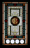 A DETAIL OF A STAINED GLASS WINDOW AT THE OLD ROYAL STATION - THE RESTORED VICTORIAN STATION USED BY QUEEN VICTORIA ON VISITS TO BALMORAL NOW A VISITOR AND TOURIST INFORMATION CENTRE, BALLATER, ABERDE... Chris Robson /Scottish Viewpoint ATTRACTION,TIC,ROYAL DEESIDE,MUSEUM,INTERIOR
