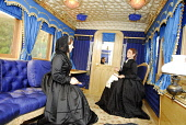 THE INTERIOR OF THE ROYAL CARRIAGE AT THE OLD ROYAL STATION - THE RESTORED VICTORIAN STATION USED BY QUEEN VICTORIA ON VISITS TO BALMORAL NOW A VISITOR AND TOURIST INFORMATION CENTRE, BALLATER, ABERDE... Chris Robson /Scottish Viewpoint ATTRACTION,TRAIN,TIC,ROYAL DEESIDE,MUSEUM,INTERIOR,DISPLAY,COSTUME