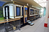 Historical picture as the station has now been renovated after a fire  THE ROYAL CARRIAGE AT THE OLD ROYAL STATION - THE RESTORED VICTORIAN STATION USED BY QUEEN VICTORIA ON VISITS TO BALMORAL NOW A V... Chris Robson /Scottish Viewpoint ATTRACTION,TRAIN,TIC,ROYAL DEESIDE,MUSEUM,INTERIOR,DISPLAY