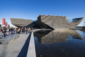 Exterior of the new V&A Museum in Dundee , Scotland, UK. Iain Masterton/Scottish Viewpoint uk,u.k,Great Britain,GB,G.B,Scotland,Scottish,group,people,daytime,outdoors,V&A Dundee,V and A Dundee,Scottish museum,modern architecture,Dundee V&A museum,V&A Museum Dundee,V&A Scotland,V&A,building