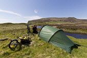 Wild Camping, Orkney, Scotland Mark Ferguson /Scottish Viewpoint uk,u.k,Great Britain,GB,G.B,Scotland,Scottish,1 person,daytime,outdoors,island,islands,isle,isles,camping,tent,bike,cycle,bikes,cycles,trailer,camp,bicycle,bicycles,wild,tents