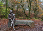 Statue of poet  Robert Burns sits on bench during autumn at the Birks O'Aberfeldy scenic area in Aberfeldy, Perthshire, Scotland,UK Iain Masterton /Scottish Viewpoint Birks O'Aberfeldy,robert burns statue,rabbie burns. scottish poet,Aberfeldy,Scotland,Scottish,outdoor,woodland,National Trust for Scotland,UK,United Kingdom,statue,sculpture,daytime,nobody,travel,tour