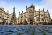 View of cobblestones in Parliament Square and St Giles Cathedral on the Royal Mile in Edinburgh Old Town, Scotland, UK Iain Masterton /Scottish Viewpoint Edinburgh,St Giles Cathedral Edinburgh,Edinburgh St Giles Cathedral,Parliament Square,daytime,church,cobbles,cobblestones,cathedrals,Royal Mile Edinburgh,Scotland,Scottish,historic,travel,tourism,view
