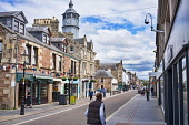 Dingwall high street, town centre, Museum, tower,  Inverness, Highland, Scotland, UK Dennis Barnes /Scottish Viewpoint uk,u.k,Great Britain,GB,G.B,Scotland,Scottish,people,daytime,outdoors,highlands,Dingwall,town,centre,high,street,Museum,tower,clock,Highland