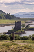 Castle Stalker, Loch Laich, near Oban, Highland Region, Scotland UK Dennis Barnes /Scottish Viewpoint uk,u.k,Great Britain,GB,G.B,Scotland,Scottish,1 person,daytime,outdoors,highlands,Castle,Stalker,Loch,Laich,near,Oban,Highland,Region,landscape,mountains