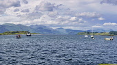 Panorama, From Port Appin looking across Lynn of Lorne to island of Lismore,  near Oban, Argyll, Scotland UK Dennis Barnes /Scottish Viewpoint uk,u.k,Great Britain,GB,G.B,Scotland,Scottish,nobody,daytime,outdoors,PANORAMA,Port,Appin,island,of,Lismore,Lynn,lorne,Shuna,Oban,landscape,mountains,boats,boat,yachts,yacht,water